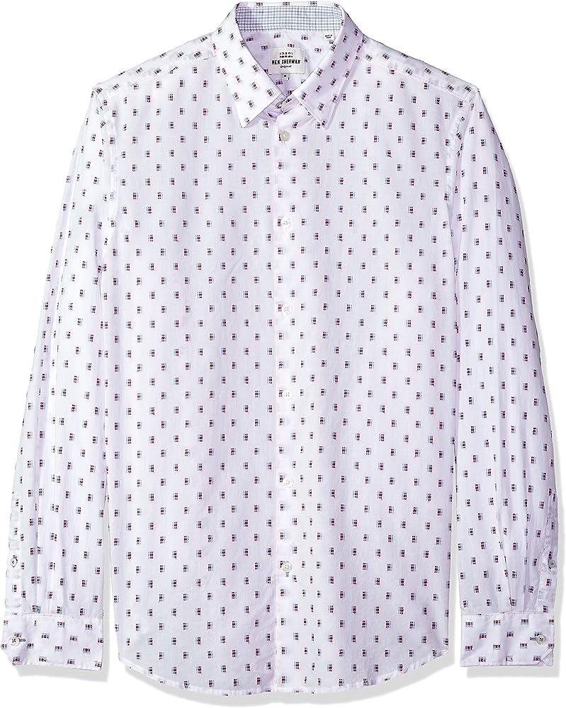 Ben Sherman Hombre MA18S48991 Manga Larga Camisa de Botones - Blanco - Medium: Amazon.es: Ropa y accesorios