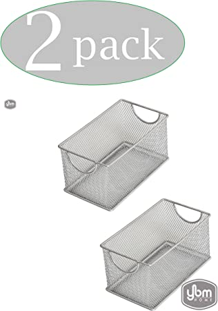 Ybm Home Wire Mesh Magnetic Basket Silver 7.75 in L x 4.3 in W x 4.3 in H 2 Pack