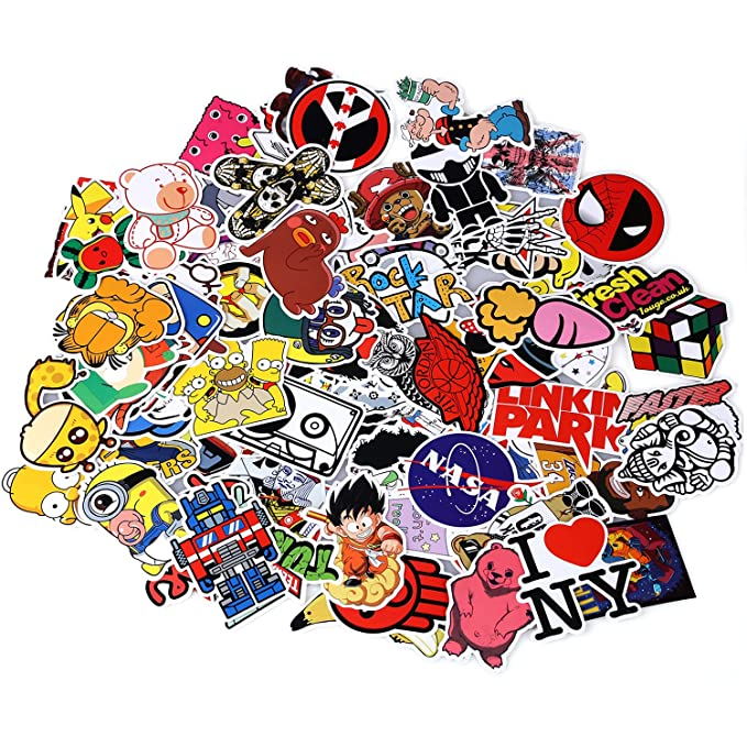 Neuleben Sticker Pack 100-Pcs, Sticker Decals Vinyls for  Laptop,Kids,Cars,Motorcycle,Bicycle,Skateboard Luggage,Bumper Stickers  Hippie Decals bomb