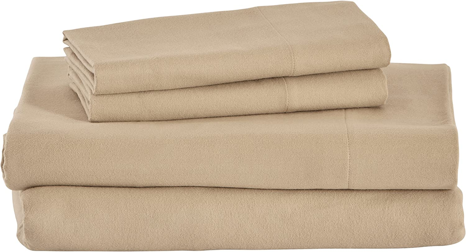 Amazon Brand – Stone & Beam Rustic Solid 100% Cotton Flannel Bed Sheet Set, Full, Toast