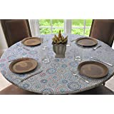 """Elastic Flannel Backed Vinyl Fitted Table Cover MULTI-COLOR GEOMETRIC Pattern - Small Round - Fits tables up to 44"""" round - Elastic Edged"""