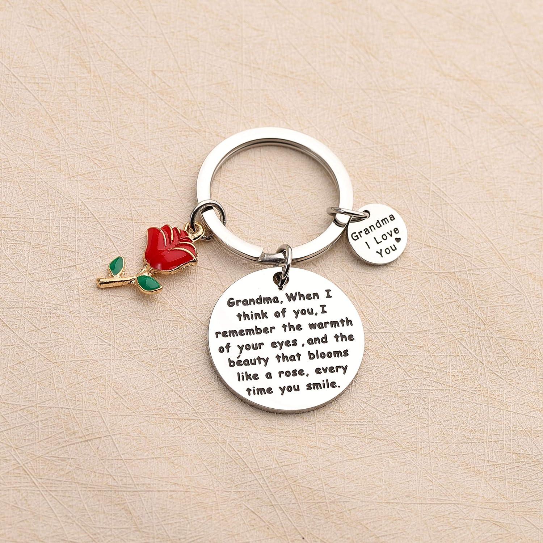 Grandma Gift Grandma Keychain Love You Grandmother Jewelry from Grandchildren with Rose Charm