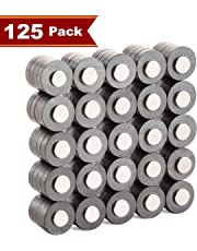 Muscle Magnet! COMBO PACK 100+25 Units, HIGH STRENGTH Ferrite 20mm x 5mm, and Neodymium 10mm x 2mm Disk Magnets for Crafts, Hobbies, Whiteboard, Fridge Magnets, Camping, Science Projects, Home & Office Organization, and More!