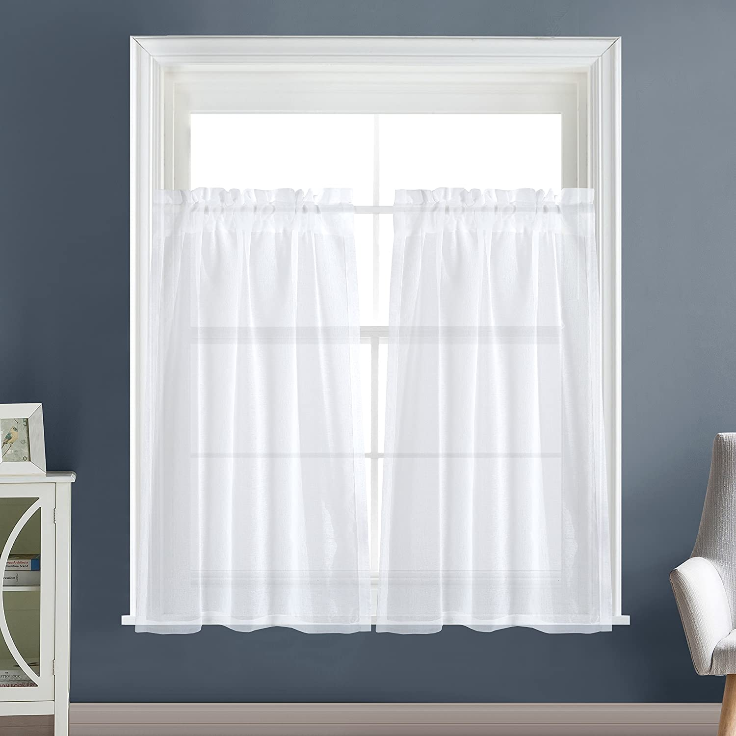 Dreaming Casa Solid Sheer Kitchen Curtains Valance Tier Curtains Draperie White Rod Pocket 2 Panels 2(30