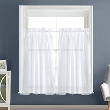 Etonnant Dreaming Casa Solid Sheer Kitchen Curtains Valance Tier Curtains Draperie  White Rod Pocket 2 Panels 2