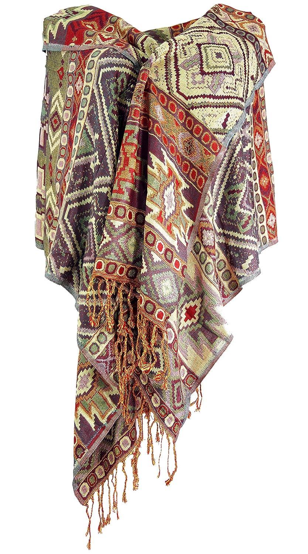 Guru-Shop Pashmina-Viskose Schal//Stola Inkaschal Violett Size:One Size Synthetisch Herren//Damen Schals Alternative Bekleidung