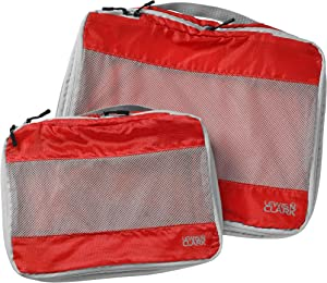 Lewis N. Clark ElectroLight Expandable Compression-Packing Cube + Travel Organizer for Luggage, Suitcase or Carry On with Smart Design Grab Handle & Breathable Mesh, 2-Pack (1 Med, 1 Large), Red