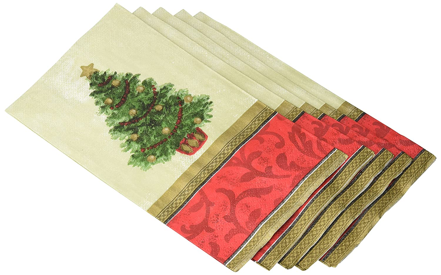Party Tableware Amscam AMI 539900 16 Ct Classic Christmas Tree Guest Towels