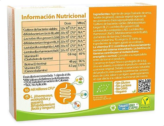 NaturalPharma Probiótico Ecológico ProEnergy. Aporte de Energía Extra. Vitamina B1 + Vitamina B12 + Biotina. Cápsulas Smart BioCaps®. (Sin Gluten, Sin Lactosa, Vegano).: Amazon.es: Salud y cuidado personal
