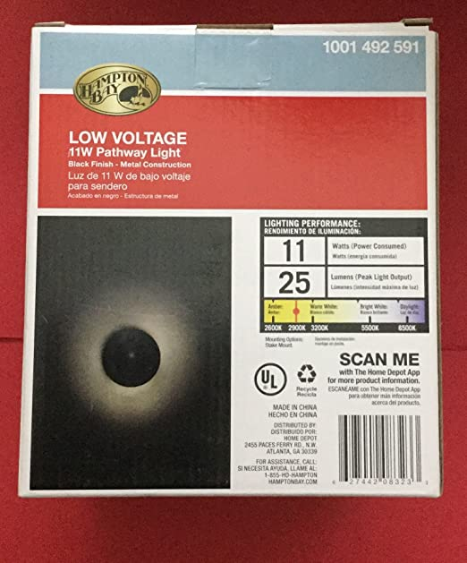 Hampton Bay Low Voltage 11-Watt Black Incandescent 3-Tier Halogen Path Light