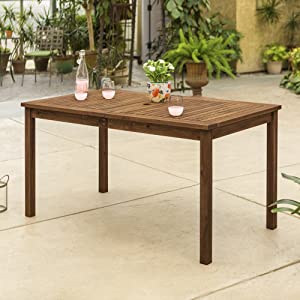 Walker Edison 6 Person Outdoor Patio Wood Rectangle Dining Table All Weather Backyard Conversation Garden Poolside Balcony, 60 Inch, Dark Brown
