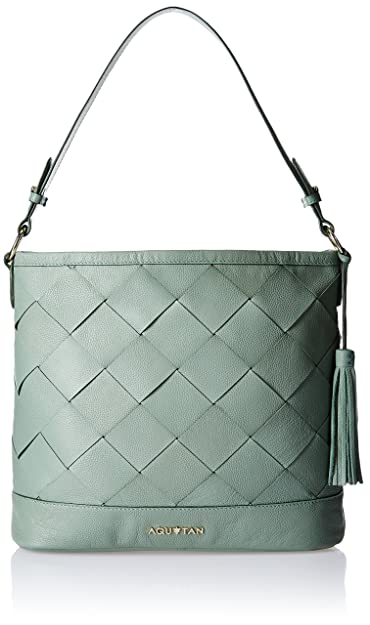 Aquatan Green Weaves Must Have Leather Woven Women's Hobo Handbag (Pistachio) (AT-M02-02)