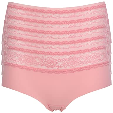 Ex Store 5 Pack No VPL Lace Trimmed Shortie Knickers Pink 14  Amazon.co.uk   Clothing 976903154