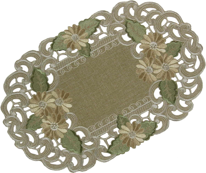 Verte Beige Quinnyshop Fleur Napperon 30 cm Rond Polyester