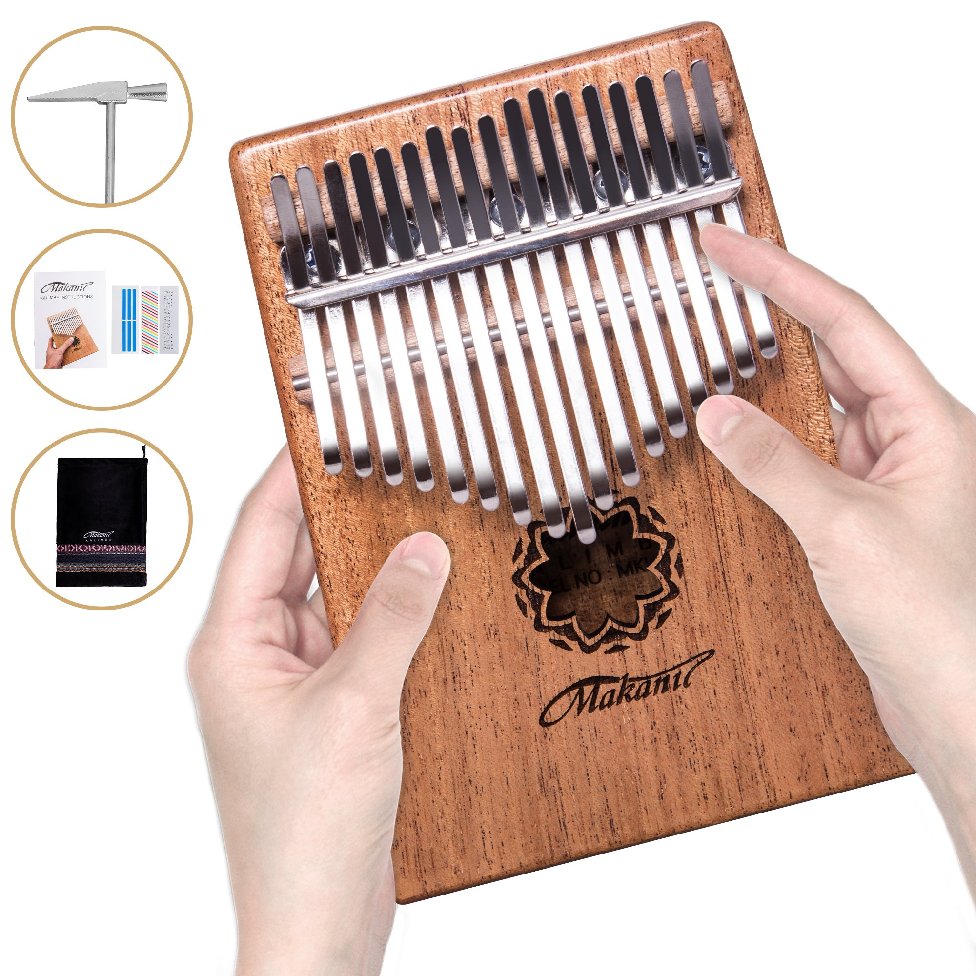 Makanu Kalimba 17 Key ,Thumb Piano ,Solid Finger Piano Mahogany Body,Set of 5 -Tuning hammer,Study instruction,Tune and color stickers,Portable piano bag,Packing case