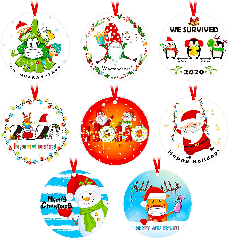 8PCS Christmas Ornaments Tree Decorations Quarantine Hangings Xmas Holiday Gag Gifts White Elephant Party Decor Favors Supplies