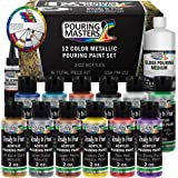 Pouring Masters 12 Color Metallic Ready to Pour Acrylic Pouring Paint Set - Premium Pre-Mixed High Flow 2-Ounce Bottles…