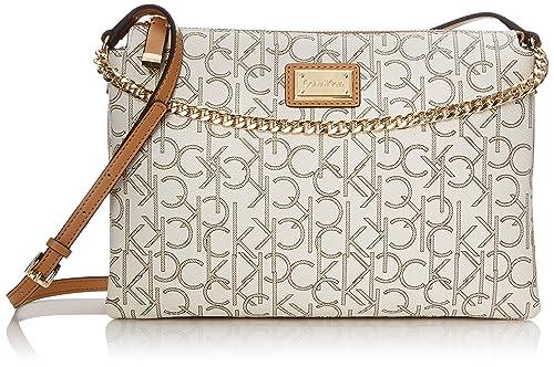 a5a2d8b8e Calvin Klein Monogram Zip Cross Body Bag, Almond/Khaki/Camel, One Size