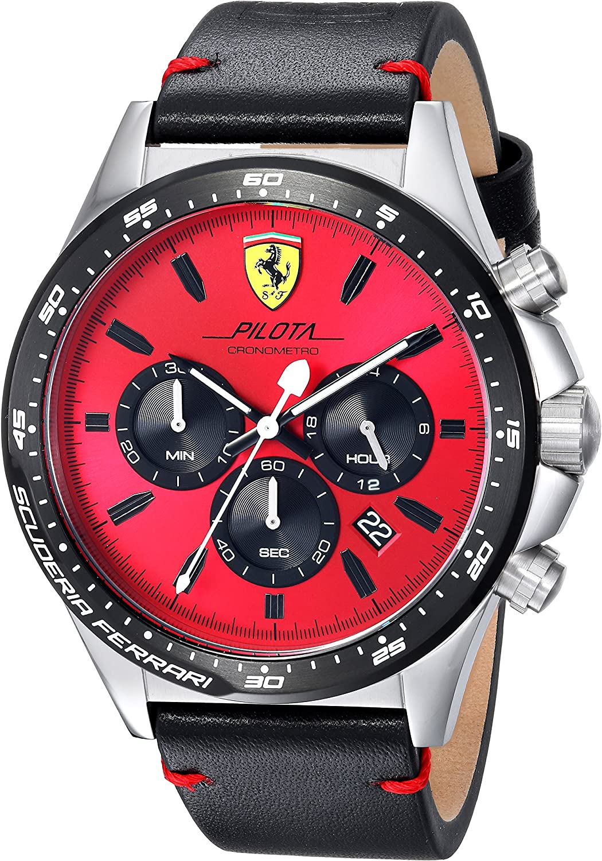 Scuderia Ferrari Men's Pilota Stainless Steel Quartz Watch Leather Calfskin Strap, Black, 0830387