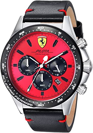 2001f5c2e Amazon.com: Scuderia Ferrari Men's Pilota Stainless Steel Quartz Watch  Leather Calfskin Strap, Black, 0830387: Watches