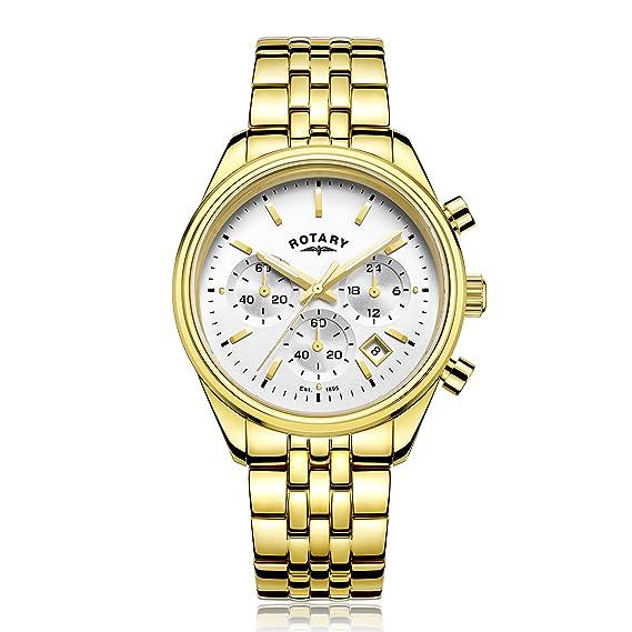 Rotary - Reloj de cuarzo para hombre, correa de acero inoxidable, color oro