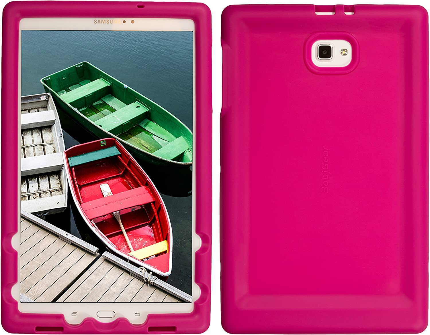 Bobj Rugged Case for Samsung Galaxy Tab A 10.1, SM-T580, SM-T585, (Does not fit S-Pen Models) - BobjGear Custom Fit - Patented Venting - Sound Amplification - BobjBounces Kid Friendly (Raspberry)