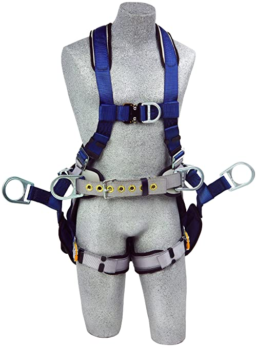 3M DBI-SALA ExoFit 1108650 Tower Climbing Harness, Front/Back/Side D-Rings,  Belt/Back Pad, Seat Sling w/Position D-Rings, QC Buckles, Small, Blue/Gray