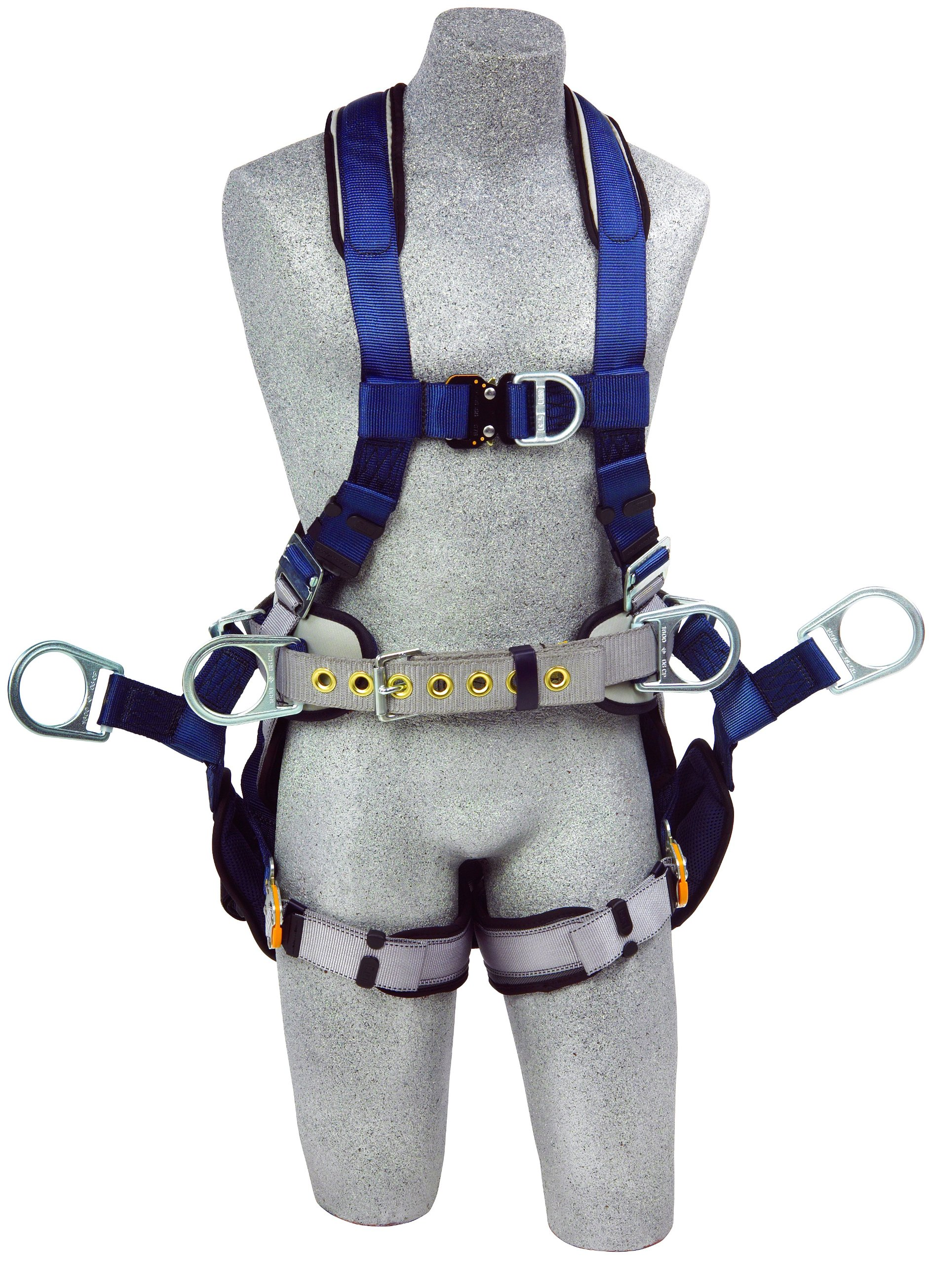 3M DBI-SALA ExoFit 1108652 Tower Climbing Harness, Front/Back/Side D-Rings, Belt/Back Pad, Seat Sling w/Position D-Rings, QC Buckles, Large, Blue/Gray by 3M Fall Protection Business (Image #1)