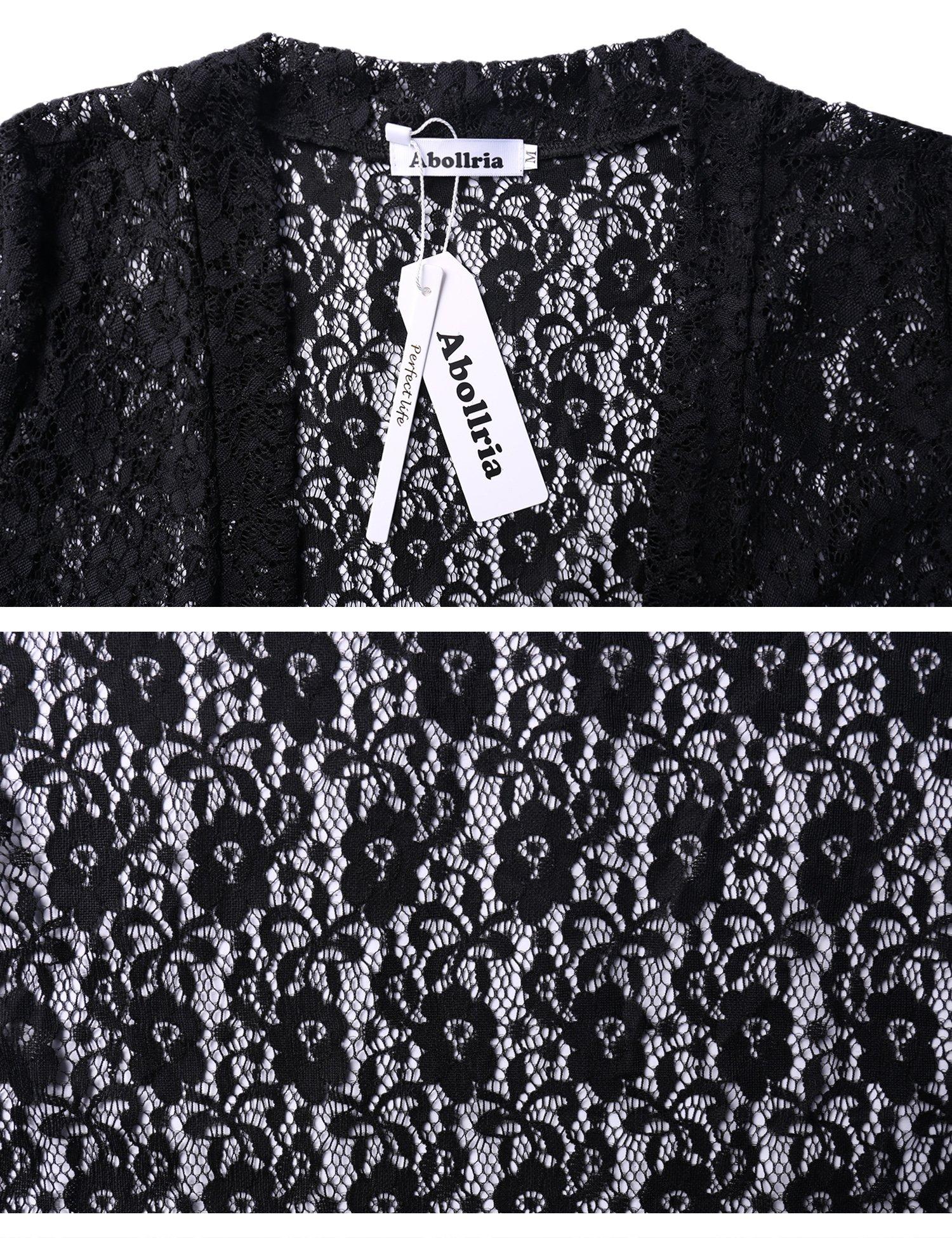 Abollria Women Tie Front Floral Lace Shrug Open Front Bolero Cardigan by Abollria (Image #6)