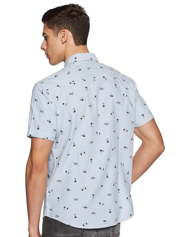 Aeropostale Mens Polka Dot Pocket Button Up Shirt