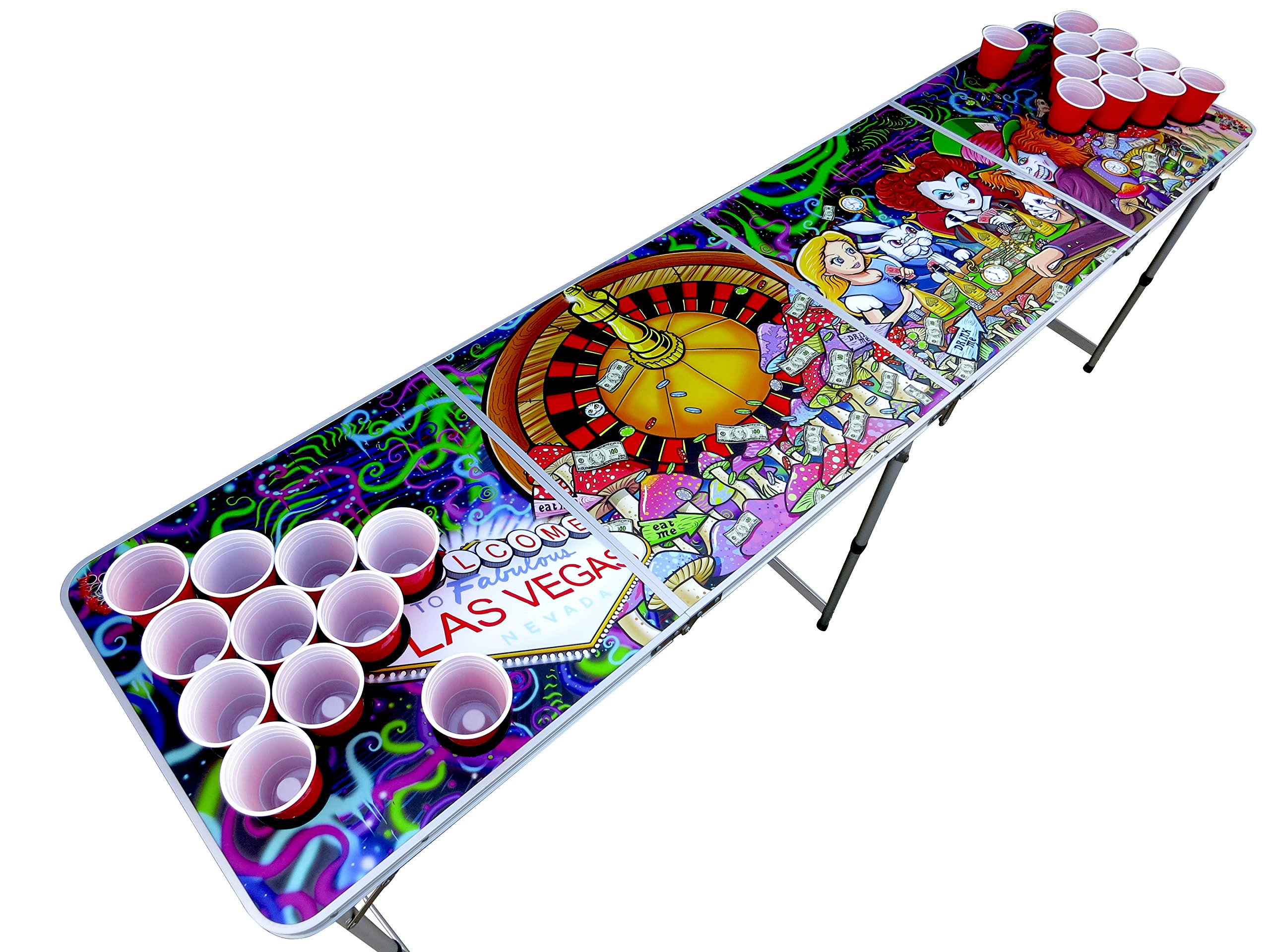 Alice in Las Vegas Psychedelic Poker Beer Pong Table with Cup Holes and Hole Covers by The Pong Squad