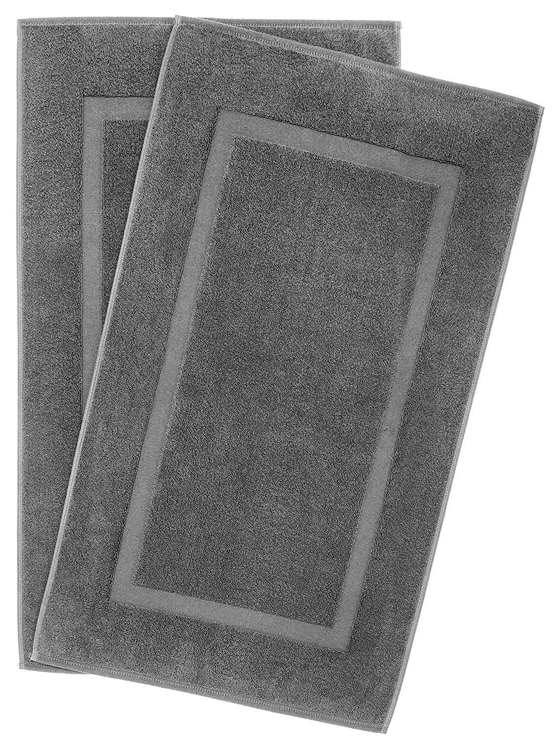 900 GSM Machine Washable 21x34 Inches 2-Pack Banded Bath Mats, Luxury Hotel and Spa Quality, 100% Ring Spun Genuine Cotton, Maximum Softness and Absorbency by United Home Textile, Charcoal Grey