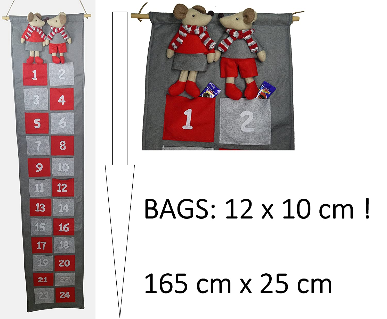 Advent Calendar mouse size XXL with large pockets to fill up fill yourself for adults and children khevga