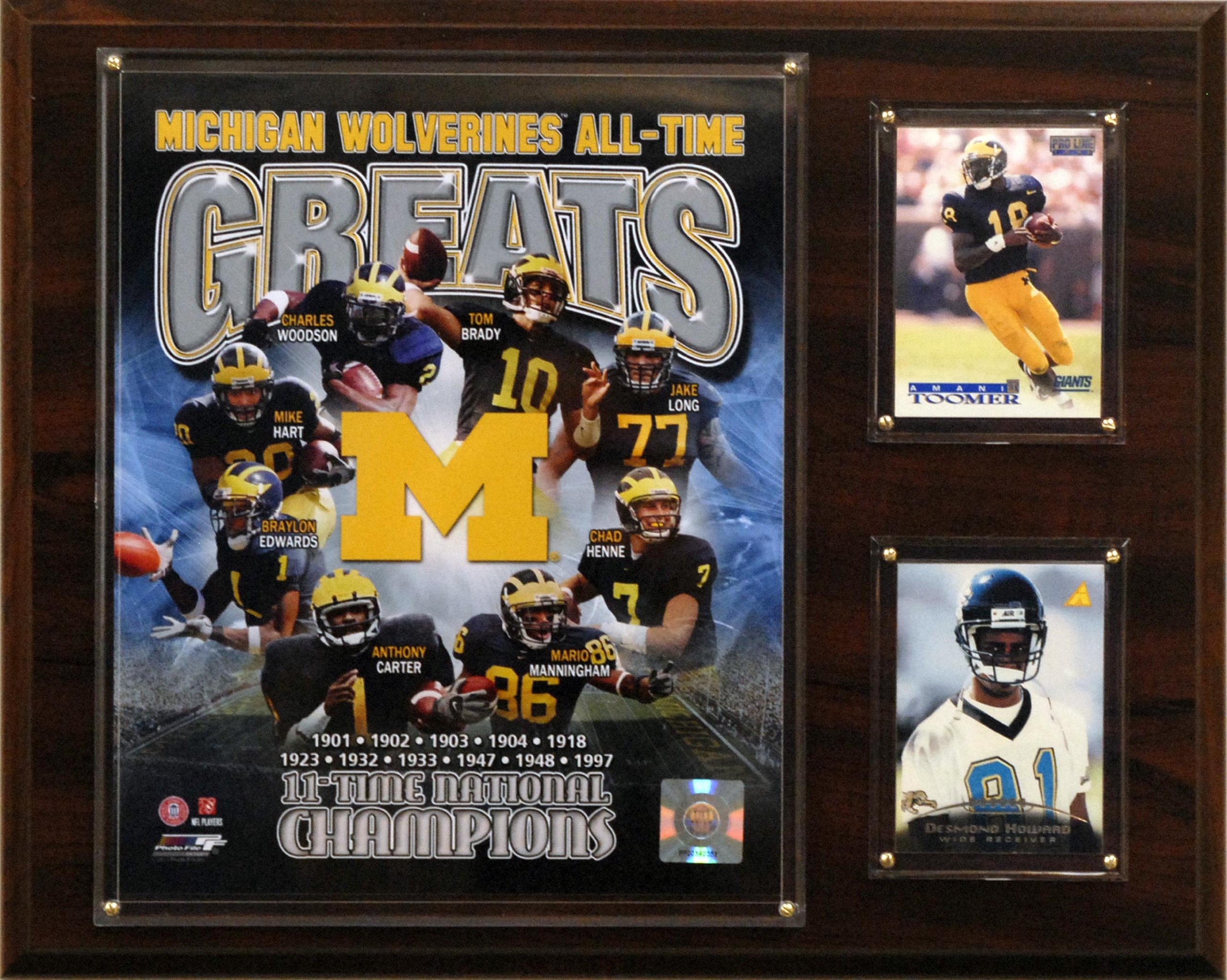 NCAA Football Michigan Wolverines All-Time Greats Photo Plaque