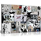 Banksy Montage Collage Printed Canvas Wall Art Print - A1 by Unknown