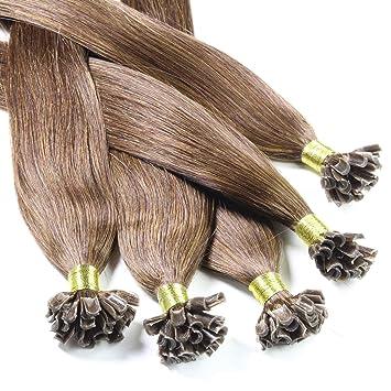 Hair2Heart 25 x 0,5g Extensiones de Queratina - 30cm - Liso, Color 4 Marrón: Amazon.es: Belleza
