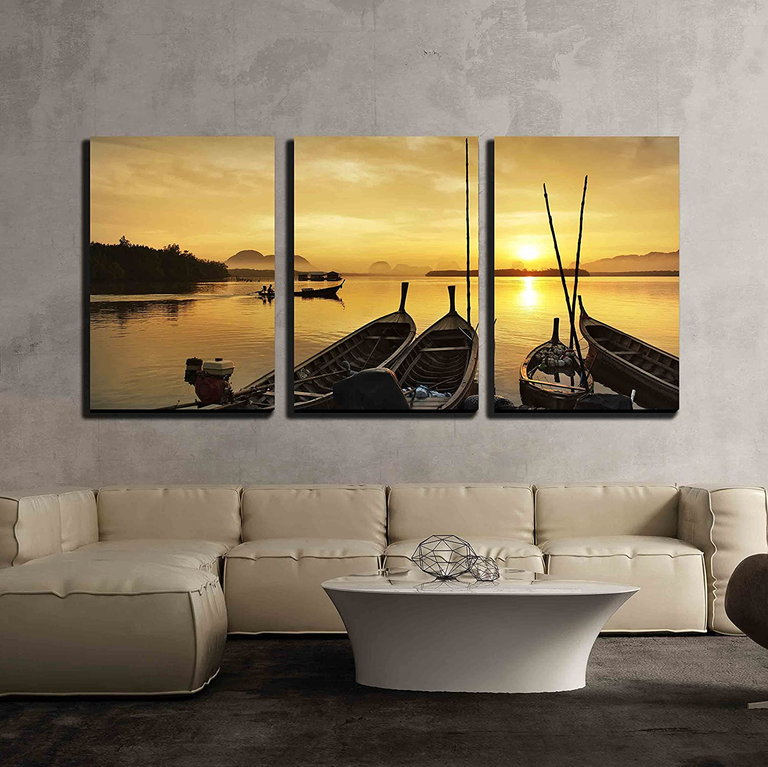 wall26 3 Piece Canvas Wall Art Fisherman Paddle Boat in Sunrise