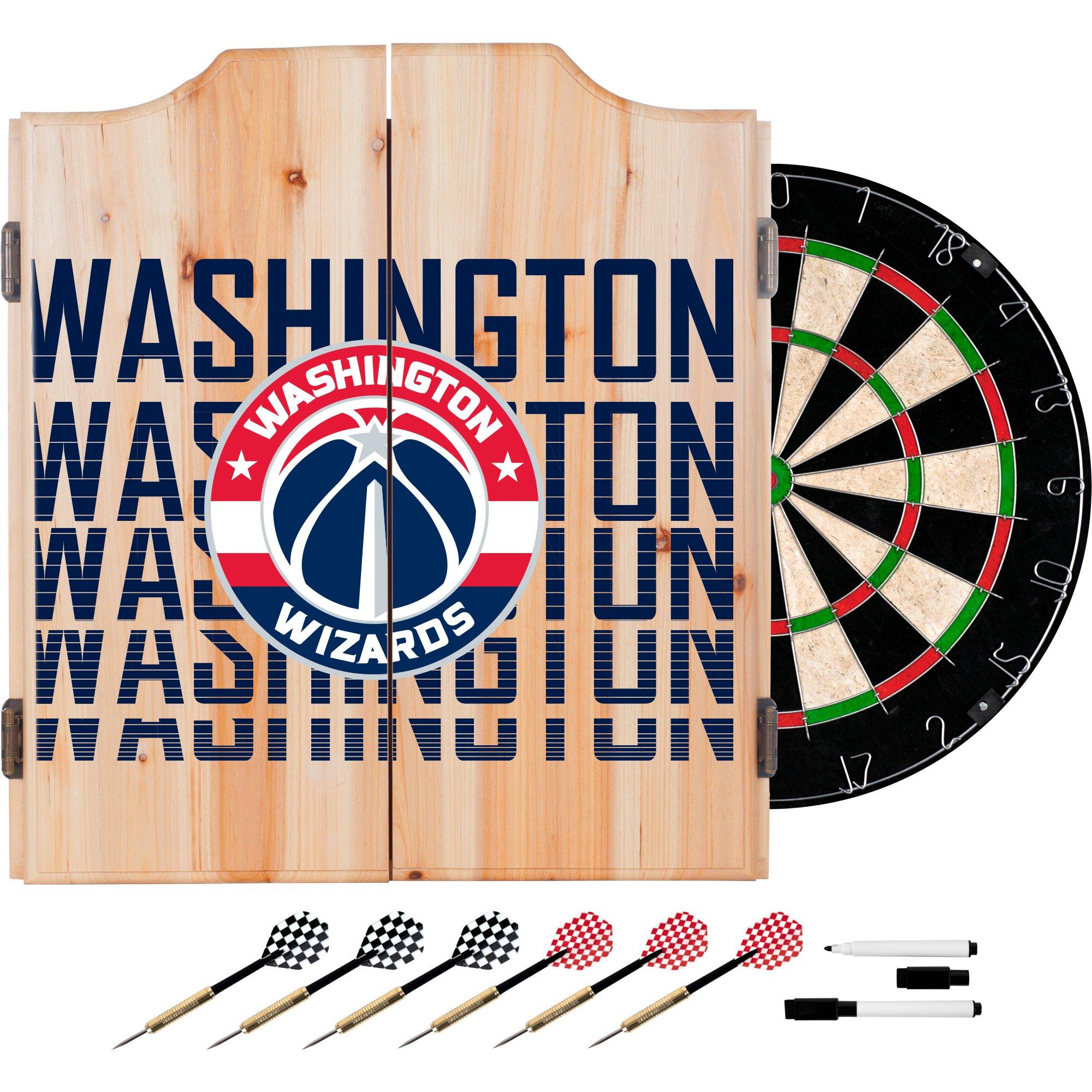 Trademark Gameroom NBA7010-WW3 NBA Dart Cabinet Set with Darts & Board - City - Washington Wizards