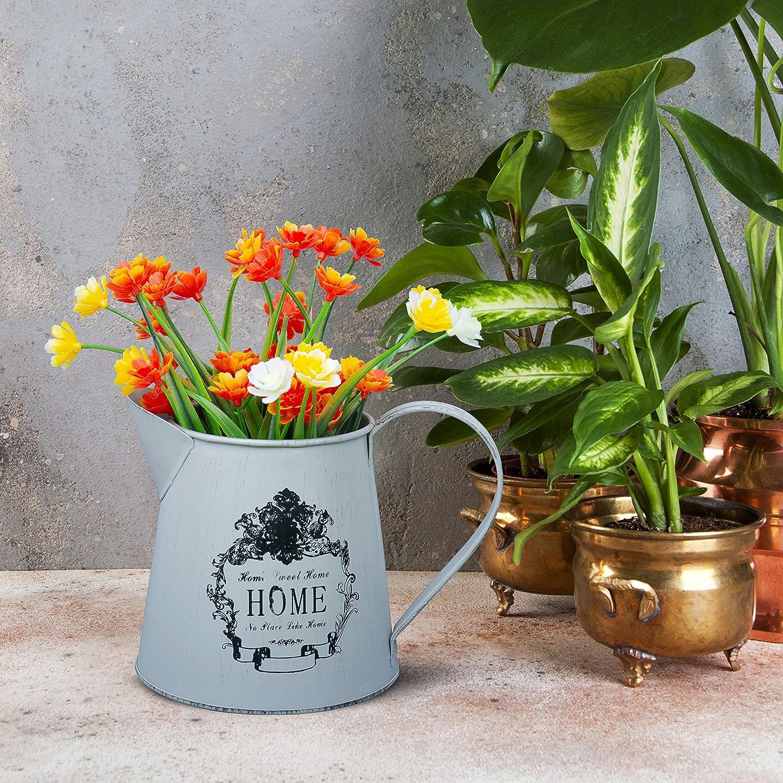 Vase D/écoratif avec Anse Vase M/étal Bureau D/éco Maison 13 cm Mini Pichet Style Fran/çais Rustique Pot de Fleur D/écoration El/égant Vintage Shabby Chic Oiseau et Fleurs Vase pour Mariage
