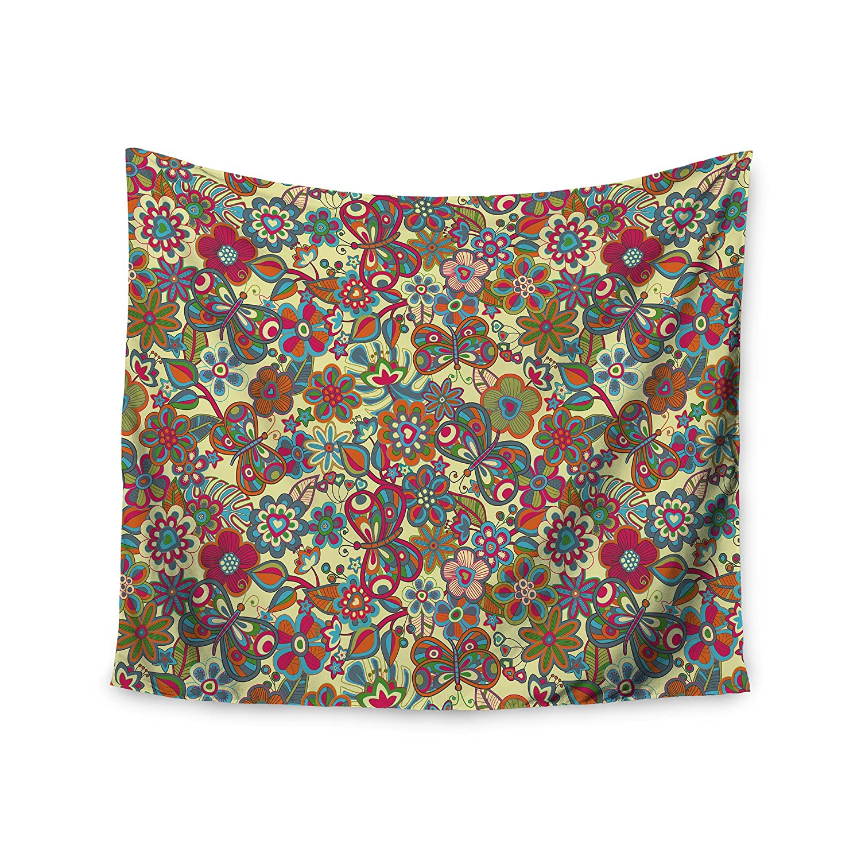 Kess InHouse Julia Grifol My Butterflies & Flowers in Yellow Wall Tapestry, 51' x 60'