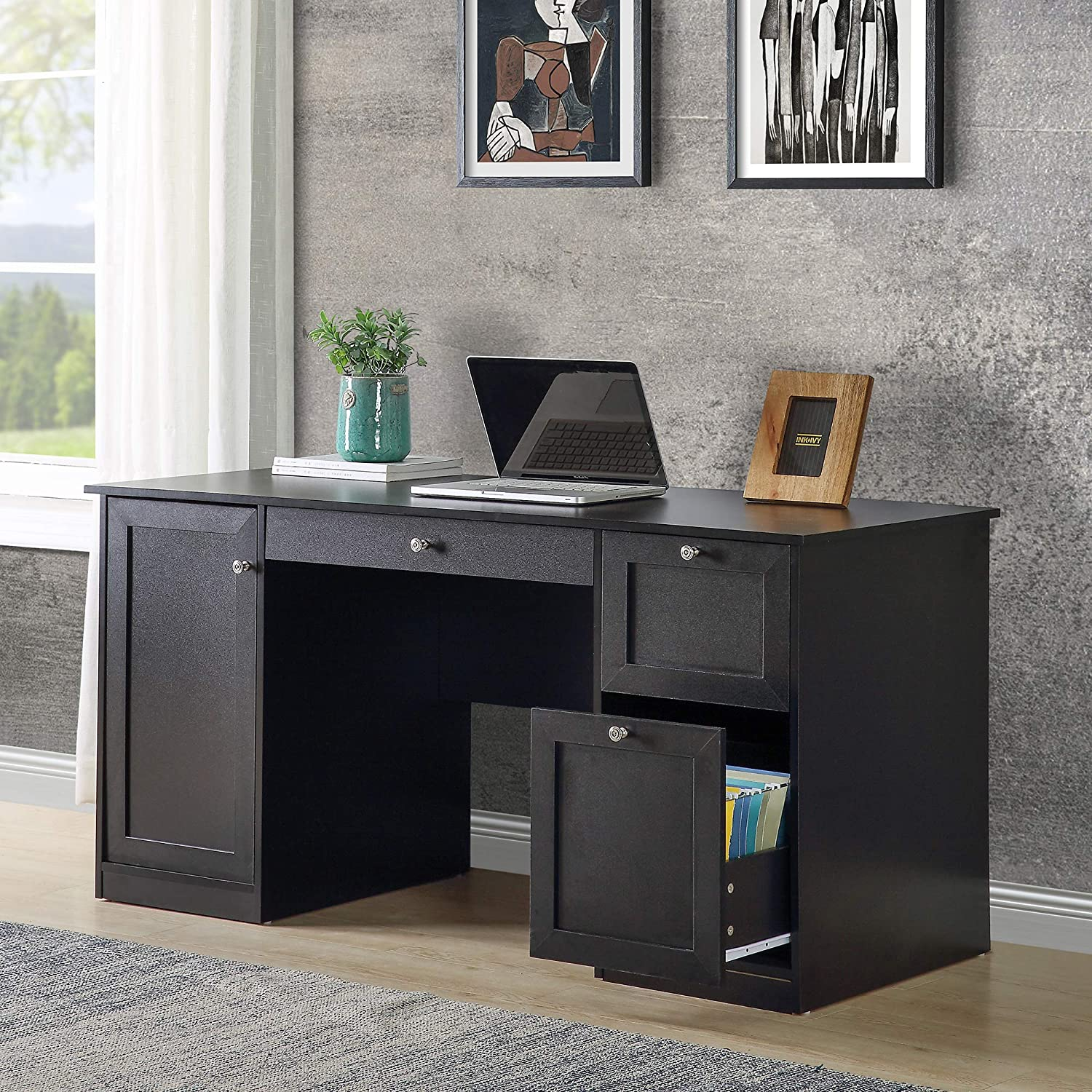 Merax Home Office Computer 2 Drawers/Pullout Keyboard/Storage Cabinet Desk Table, 59