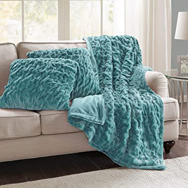 Comfort Spaces Faux Fur Throw Blanket Set – Fluffy Plush Blankets for Couch and Bed – Teal Size 50  x 60  with 2 Square Pillow Covers 20  x 20