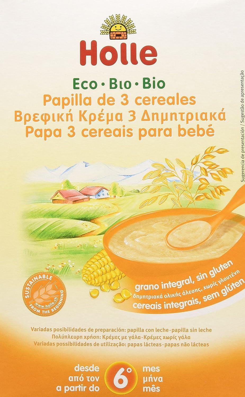 Papilla ecológica de arroz, maíz y mijo HOLLE (6 paquetes de 250 gr)