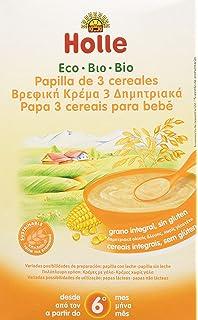 Holle Papilla 3 Cereales (+6 meses) SIN GLUTEN - Paquete de 6 x