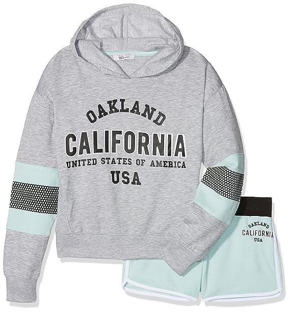 New Look 915 Cali Hoody Short, Conjuntos de Pijama para Niñas, Gris (Mid