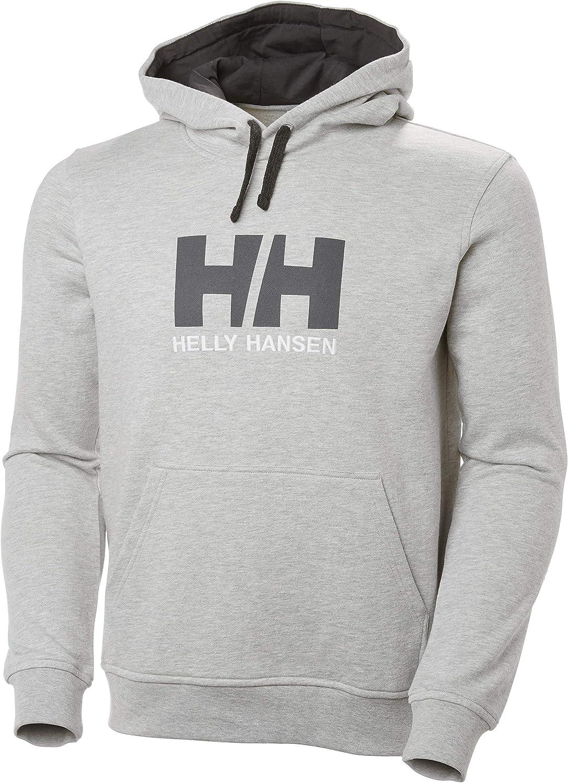 Helly Hansen Logo Hoodie Hombre con Capucha, Sudadera Casual de algodón para Uso Diario y Actividades al Aire Libre, Gris (Gris 949), XL
