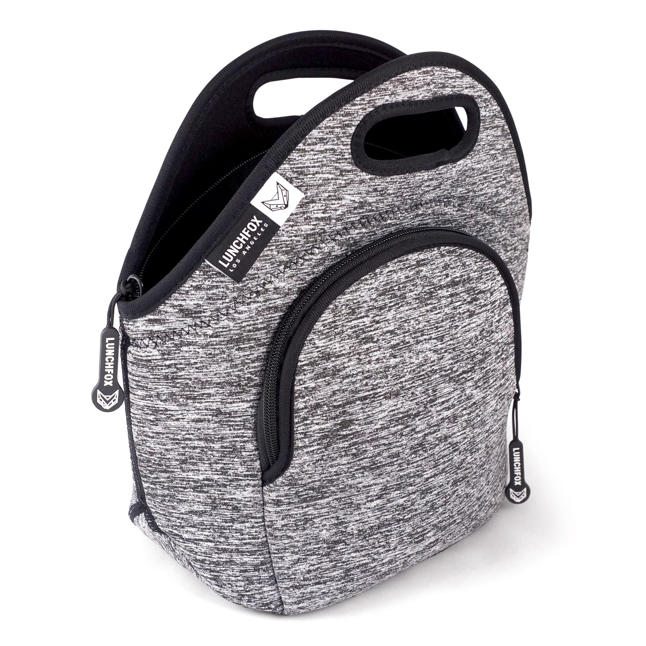 LunchFox Eco-Friendly Neoprene Lunch Bag (The Original), Heather Grey Melange, Ultra-Thick Insulated - The Silver Lake