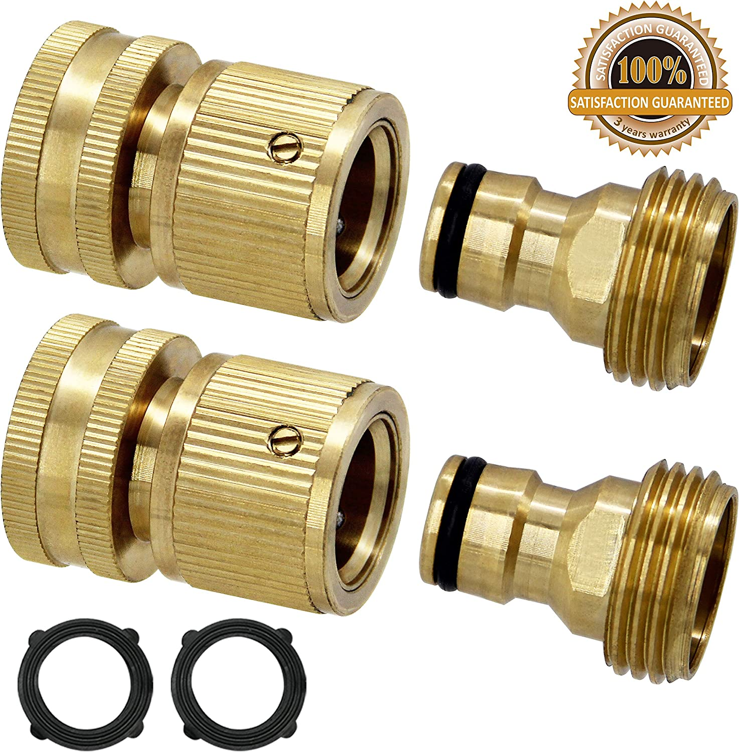 Twinkle Star Garden Hose Quick Connect Water Hose Fitting, 3/4 Inches Brass Female and Male Connector, 2 Set