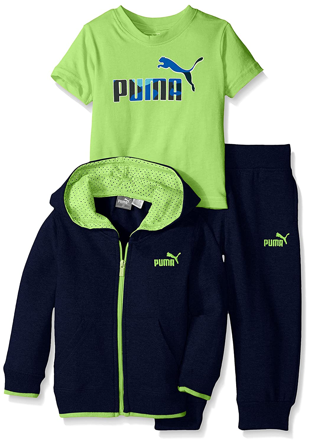 PUMA Little Boys' Jogger Full Zip Hoodie with Jogger Pant and No. 1 Logo Tee PUMA ULC Boys 1155466F