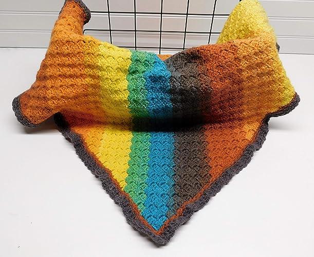 Amazon com: Rainbow Blanket handmade crochet blanket for baby shower